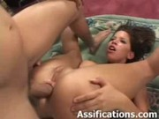 Hot brunette gets a facial after getting  ...