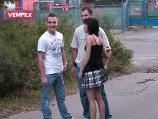TEEN girl in a PUBLIC threesome sex PART 1