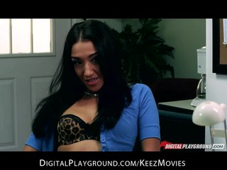 Slutty big-boob brunette secretary convinces her boss to cheat