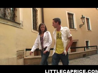 Caprice hooks up with lucky dude at the street and takes him home