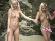 Sandy & Yana strap-on fuck on beach