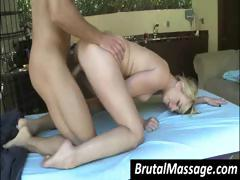 Young Short-haired Blonde Tramp With A Set Of Nice Tits Gets Fucked By Her Dirty Masseur