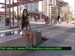 Alexa Loren Hot Brunette Slut Near A Fountain Outside