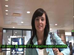 Zeba Awesome Superb Brunette Girl Walking In A Aeroport