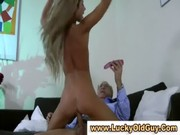 Double fucking young blonde girl for old man
