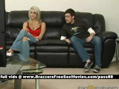 Sweet Blonde Wife At Home With Her Husband Cheats Him