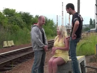Big tits - a girl with big tits and 2 guys PART 1