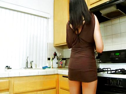 Horny MILF Tacori Blu kitchen fuck