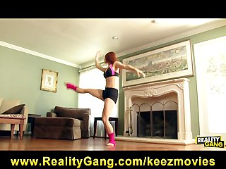 Flexible redhead ballet dancer rides the pizza man s cock