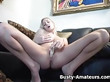 Busty Autumn masturbates her pussy with dildo