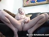 Busty Autumn masturbates her pussy with dildo