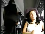 sexy girl flashes on the train