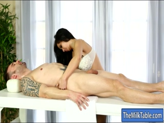 Sexy masseuse get a cum blasted on face