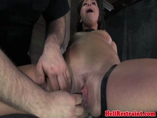 Immobilzed sub gets pussy spread open