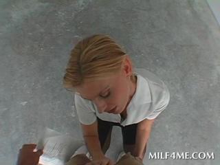 Blonde MILF strips and serves stiff pecker