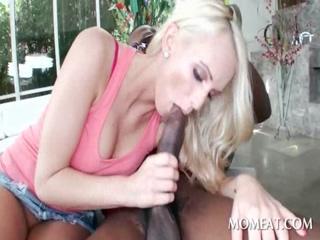 Wet blonde fucks massive black dick outdoor