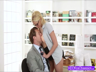 Gorgeous blonde Vanessa Cage gets fucked hard in office sex fantasy
