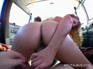 Hot ass blonde rides dick in reverse in bus