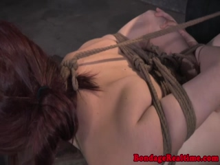 Submissive slut hogtied for punishment