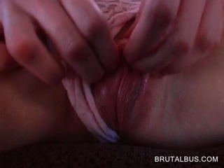 Pink cunt slut blowing monster cock in bus
