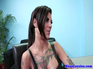Squirting lesbian dominated with strapon