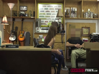 Hot babe gets hardcorely fucked in the pawnshop