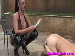 Bigtitted domme pegging subject outdoors