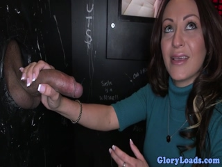 Cumdrenched gloryhole newbie sucking dick