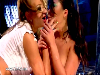 Glamour babes gag snatches each other