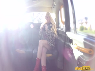 Cindy sucks an English cock in the cab