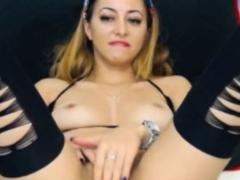 Satin Masturbation In Green Dress And Stockings