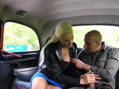 Busty Cabbie Rides Huge Black Cock