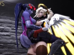 Futa mercy pounding and spanking widowmaker's juicy ass