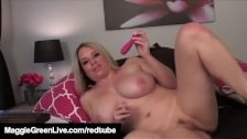Hot Blue Eyed Maggie Green Pussy Pounds Her G-Spot Vibrator!