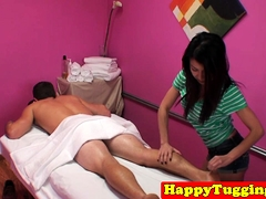 Asian Masseuse Tugs Clients Cock Till Cumshot