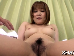 Asian Moans And Sticks Two Fingers In Her Shaggy Moist Crack
