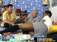 Busty African Nanny Seduced In Threesome