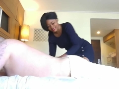 ebony white guy massage with bj fuck and cream pie