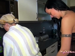 Old Blonde Fucking In Ffm Threesome