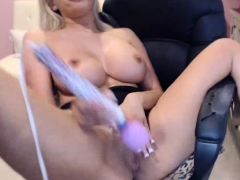 Busty Blonde Drops Panties Between Her Knees