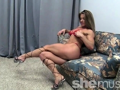 Sexy Pro Female Bodybuilder Maria G Peek-a-boo Strip
