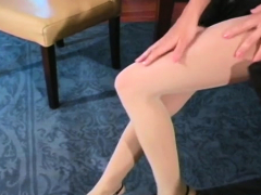 Nympho Exposes Unshaved Cunt In Transparent Tights