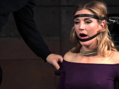 Restrained Babe Facefucked By Black Maledom