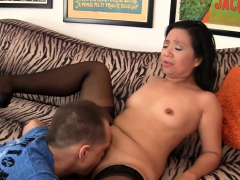 Older Asian Lucky Starr Takes White Cock