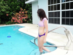Gorgeous Brunette Coed Michele James Is In The Pool Rubbing