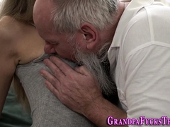 Teen Rides Grandpas Face