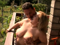 Chubby Blonde Plays With A Hard Cock
