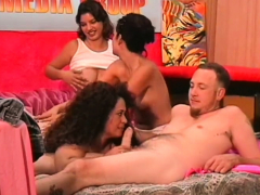 Three Chicks Get Satisfied By One Dude