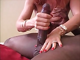 Hot milf milkes a nice big black cock