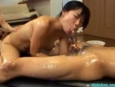 Asian Girl Oil Body Riding On Guy Giving Blowjob While Getting Her Tits Rubbed By Other Girl Cum To Mouth Kissing With Girl On The Airbed In The Room